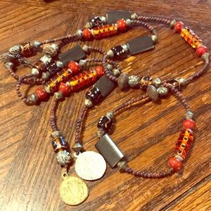 Belt with coins, artisan glass, wood, metal  beads